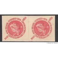 0107SD-300Rs,  Centenário de Carlos Gomes, vermelho, filigrana Armas ,em par   sem denteação.