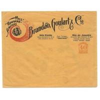 ENH-01-Envelpe Rowland Hill, 40Rs Brandão Goulart e Cia,  com publicidade tambem no verso, novo.