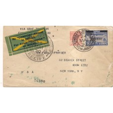 1930-Envelope do Rio para N.York via Zeppelin com selo  Z-05, 10$000 sobre 20.000Rs.Raro